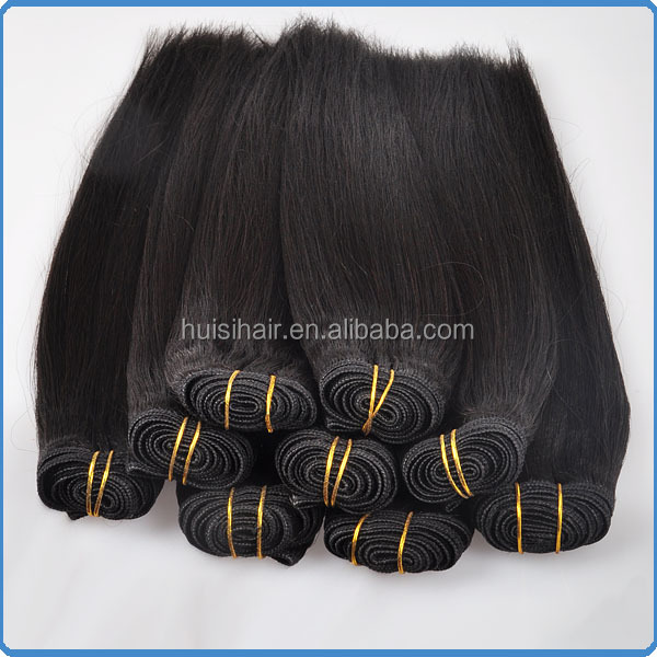 Grade 6a 8a machine weft hair produced from chinese factory natural black color yaki hair weft machine