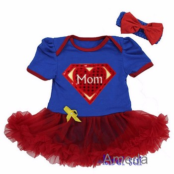Baby Super Mom Blue Red Bodysuit Tutu and Headband