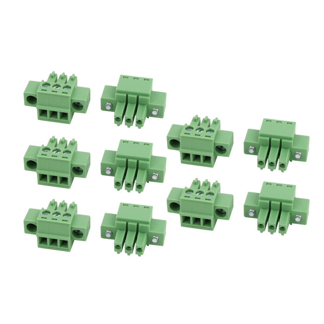 uxcell 10Pcs LC1M AC300V 8A 3.5mm Pitch 3P PCB Terminal Block Wire Connection