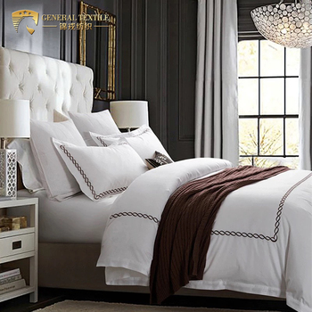 luxury 4pcs embroidered cotton white bedding set bed sheet set