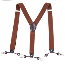 Custom Printing Suspenders Leather for Men Adjustable Elastic Braces with 6 Clips