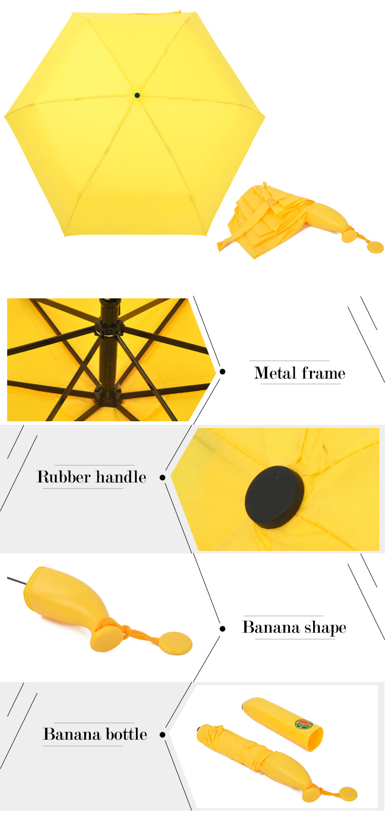 BB-01 wholesale custom unique design creative banana umbrella