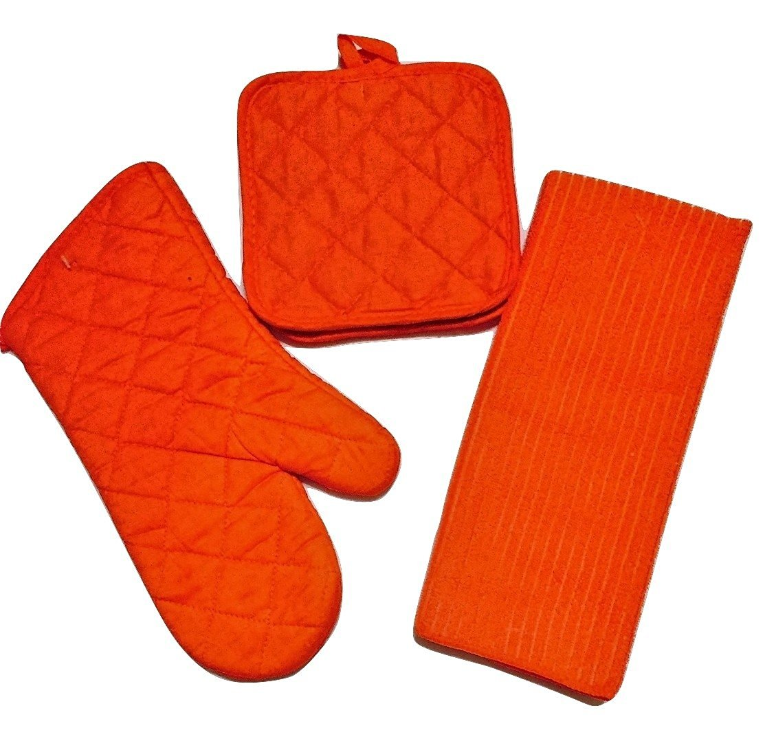 Get Quotations · Summerglow Towel Hand Mitt And Oven Mitt Set Colors Vary  (Orange)