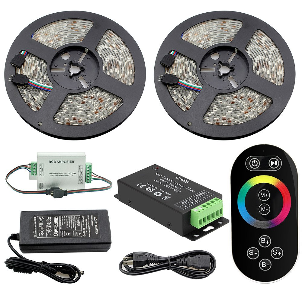 IWISHLIGHT 32.8Ft 10M SMD 5050 600LEDs Waterproof Color Changing RGB DC12V LED Strip Lighting + 8 Key Touch RF Remote + Controller + Power Supply Adapter