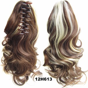 "Synthetic Ponytails 20"" 55CM Wavy Brown Ombre Color Heat Resistant Claw Ponytails and Hair Pieces Hair Tail"