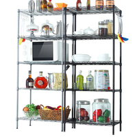 XM_215 DIY 5 Tier Multi-purpose Home Kitchen microwave oven rack Metal Storage Shelving Wire Shelf with hooks