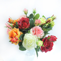 wholesale multi-color wedding bouquets artificial fake roses flower