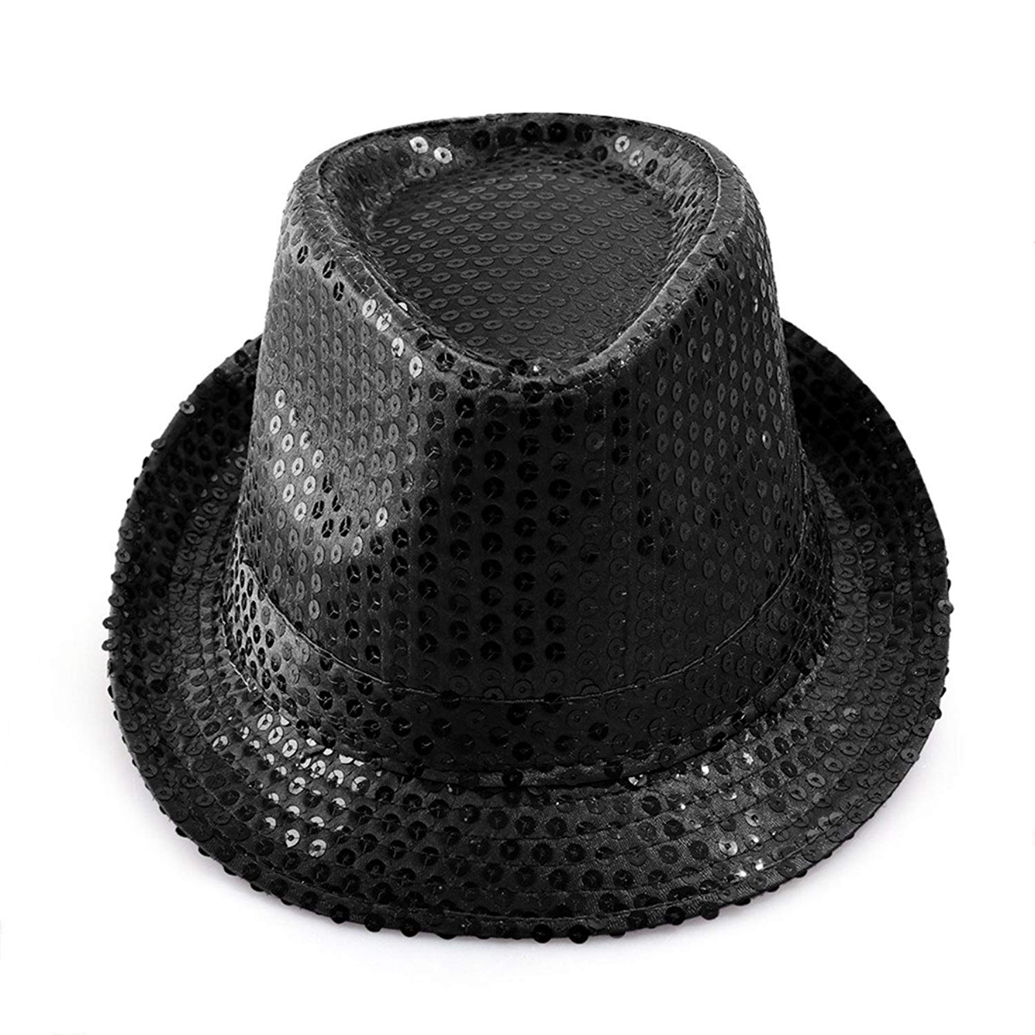 dc046d58bb0f9 Get Quotations · LKXHarleya Adult Sequins Fedora Jazz Hats Glitter  Paillette Costumes Party Dance Cap