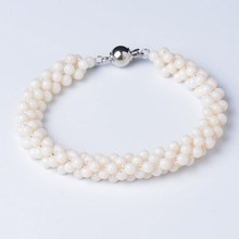 White Coral Bracelet with Brass Clasp White Coral Gemstone Bracelet