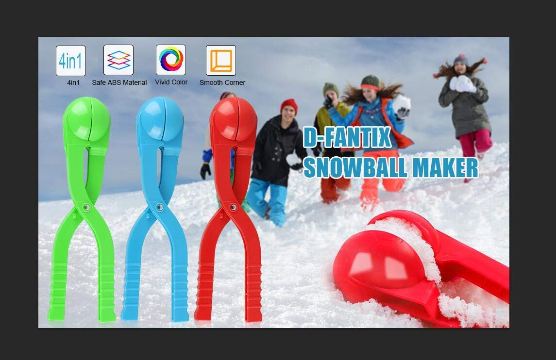 D-FantiX Snowball Maker Snow Toys for Kids Boys Winter Outdoor Snow Play Games Large 3 Pack