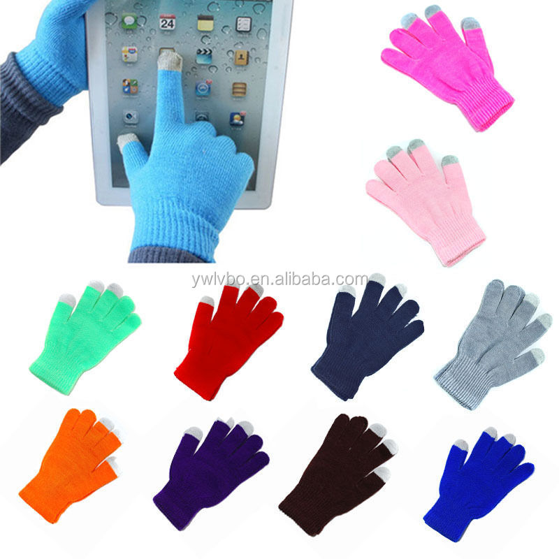 Supply Youch ONE SIZE Men Women Touch Screen Gloves Smart Phone Tablet Winter Knit Warmer Touch Mittens-----Accept Custom Logo