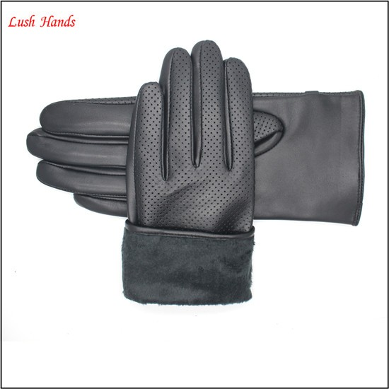 2016 fashion lady's genuine sheepskin pinhole gloves with metal decoration