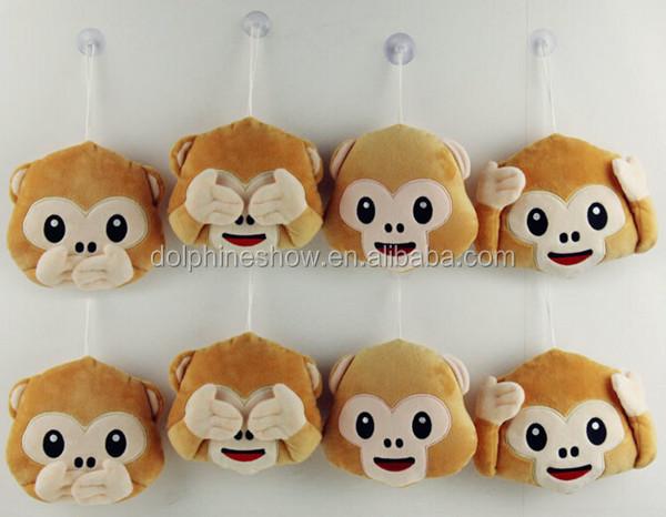 Wholesale fashion cute mini whatsapp soft stuffed plush monkey emoji  keychain e3e792c24437