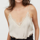 tank tops female casual V-neck satin top with a lace trim at the top