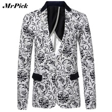 Men Printed Blazer Jacket 2015 Fashion Brand Floral Pattern Slim Fit Long Sleeve Blazer Spring Autumn Casual Suit Jacket Z2009