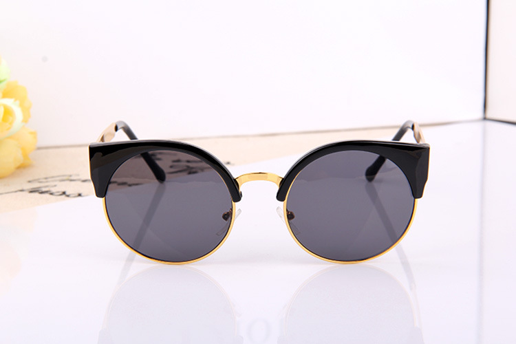 Summer Style Cat Eye Sunglasses Women Eyewear Semi-Rimless Sunglasses Super Round Circle Cat Eye Sunglasses