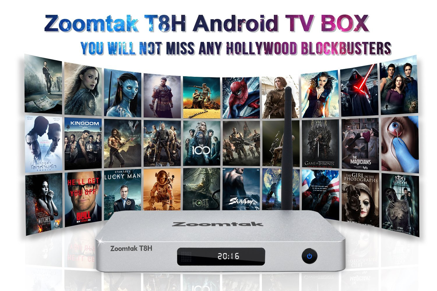 Zoomtak Android TV Box T8H Stunning 4K Streaming Media Player Amlogic S905 Quad Core Unique Media Manager App Smart TV Tuner Watch FREE Movies Sports Shows