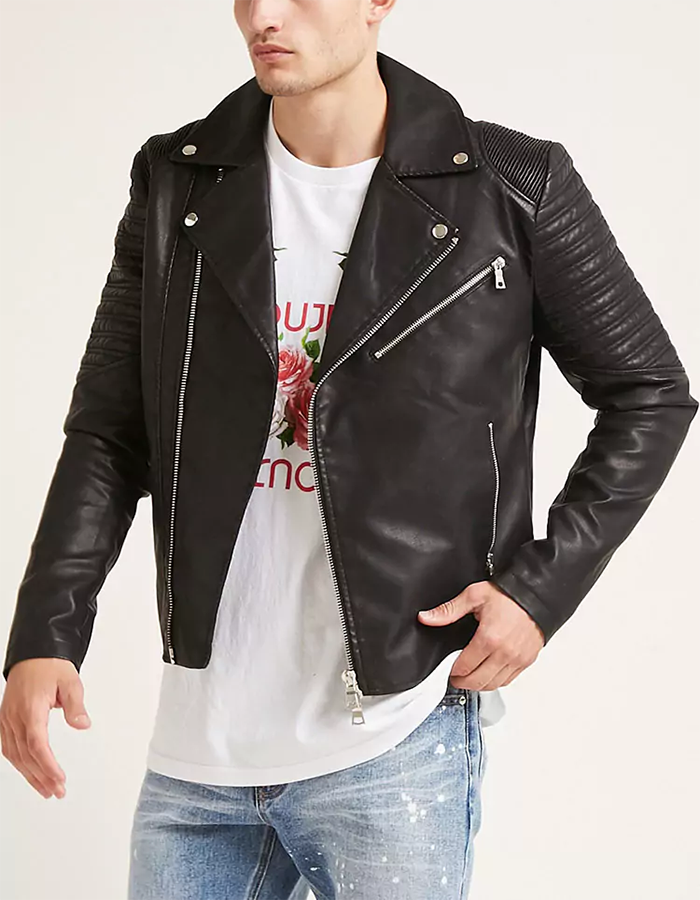 fff5a33f5 Men Slim Fit Black Faux Leather Moto Jacket With Slanted Zipper Pocket -  Buy Moto Jacket,Faux Leather Jacket,Black Leather Jacket Product on ...