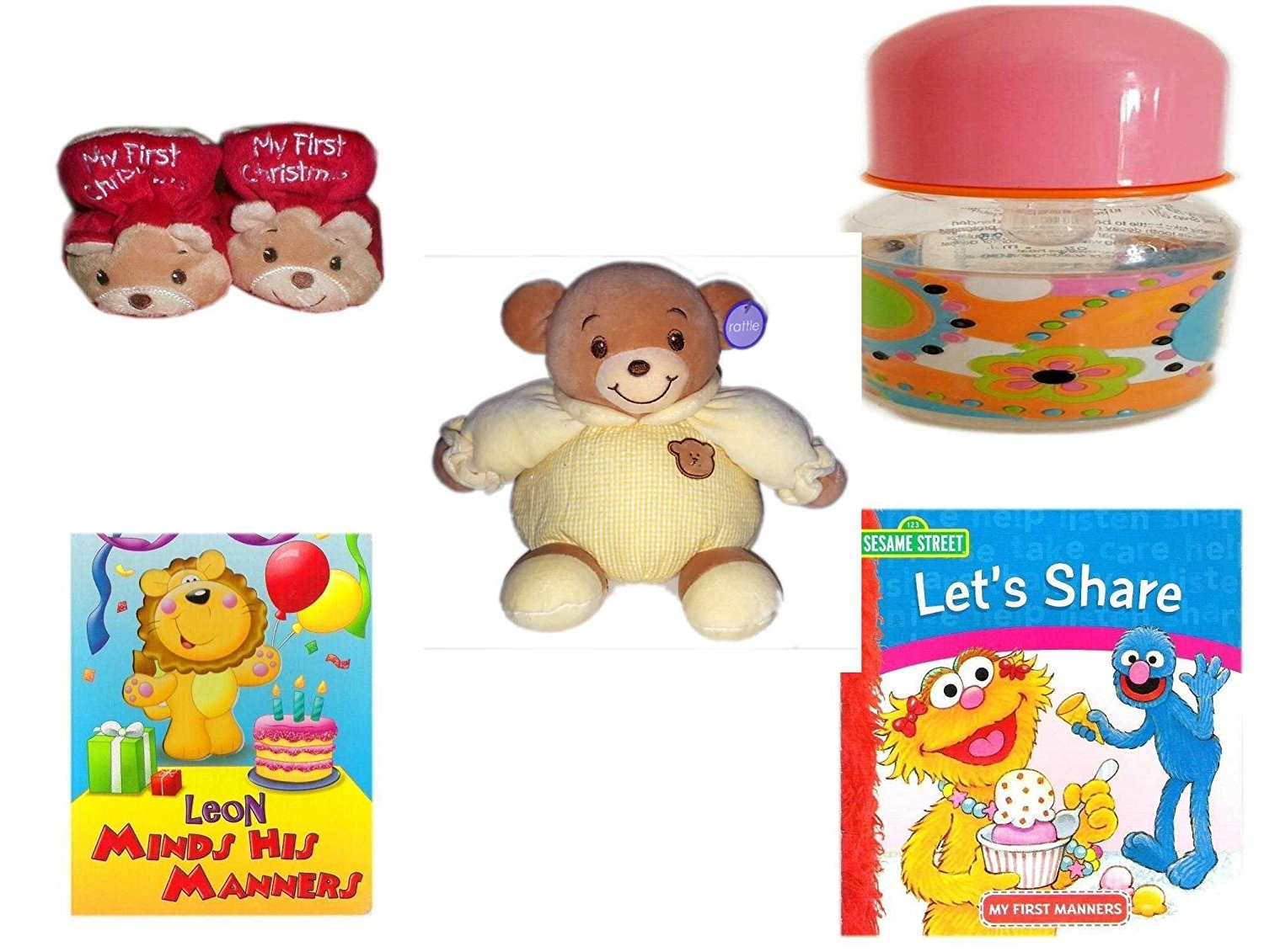 Children's Gift Bundle - Ages 0-2 [5 Piece] - Dan Dee My First Christmas Baby Bear Infant Booties Size 1-2 - ID Gear Baby Bottle Pucci Look 4 oz - Baby Bow Bear Rattle Plush - Leon Minds His Manners