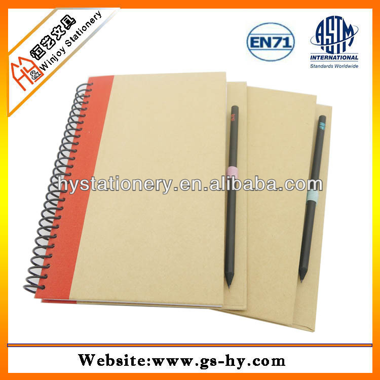 Promotional Spiral binding recycled kraft paper notebook with pen or pencils
