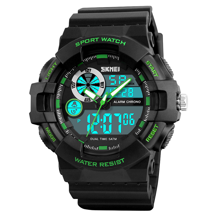 Skmei#1312 New Design PU Band 50M Waterproof Analog Digital Sport Men Watch