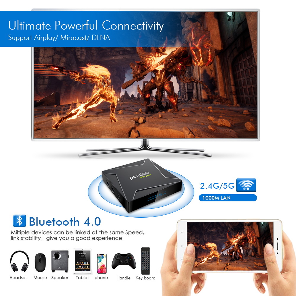 Mejor android hd video wifi tv box pendoo X10 más S905X2 4g 32g KD iptv receptor oem tv caja