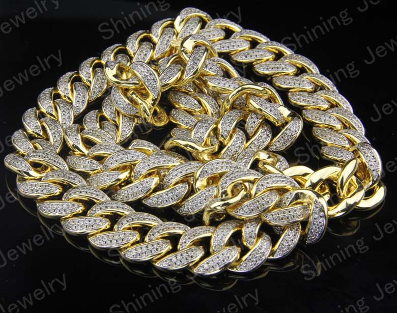 10k Gold Cuban Link Chain >> Hip Hop Micro Pave Cz Lab Created Diamond Miami Cuban Link Chain Silver - Buy Miami Cuban Link ...