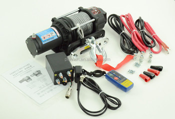 TOP SALE 4X4WD 12V/24V USED ATV UTV JEEP ELECTRIC WINCH 4500LB with Synthetic rope and remote control