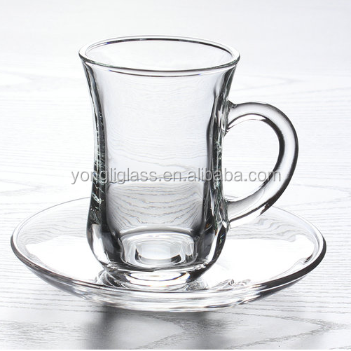 135ml traditional turkish tea glass with handle,elegant glass tea cup with saucer wholesale
