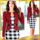 New Elegant Women Dress Belt Tartan Patchwork Tunic Dress Work Business Plaid Bodycon Pencil Sheath Women Office Dress
