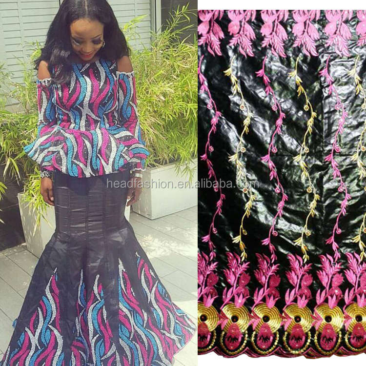 Queency Hot Selling Black Ladies Dress Fabric Bazin Riche Embroidery for African Clothing