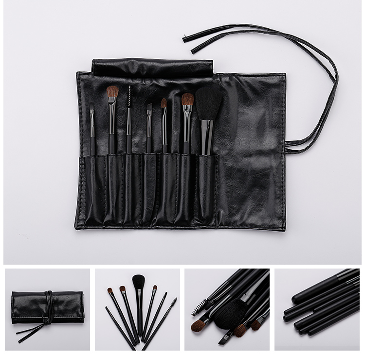 Hot Sale 7pcs Black Makeup Brush Set Natural Hair Made Makeup Brushes Promotion