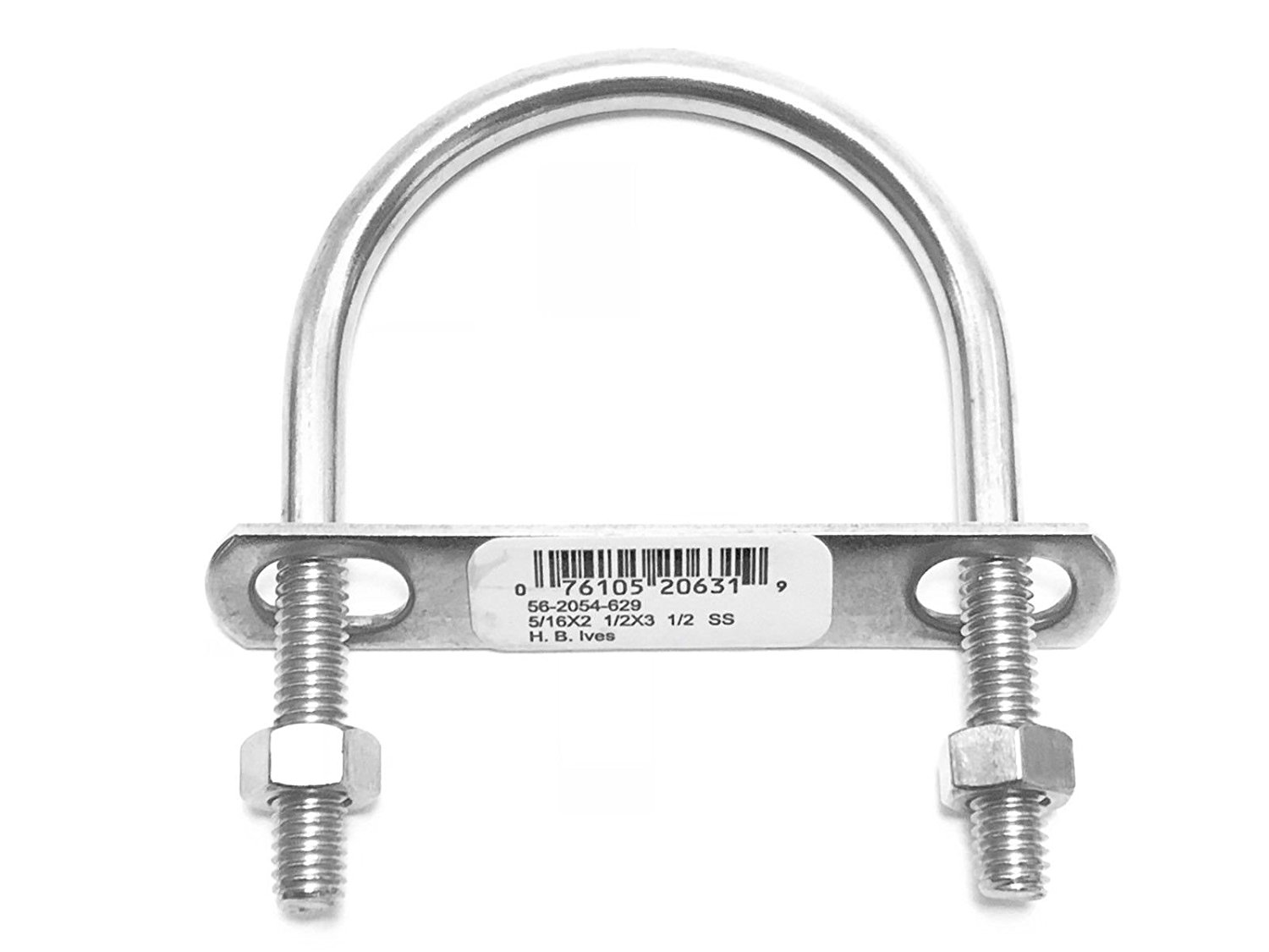 """Stainless Steel Ubolts 5/16"""" inch x 2 1/2"""" inches x 3 1/2 inches 2"""" Pipe Clamp U-Bolts w/ Nuts 3 1/2 inch 10 Pack"""