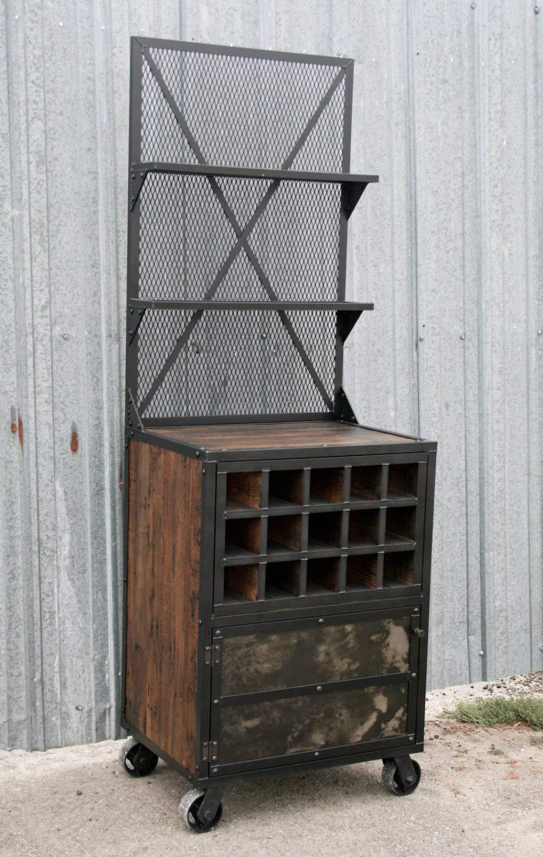 Get Quotations · Mid Century Modern Liquor Cabinet. Vintage Industrial Wine  Rack. Reclaimed Wood.