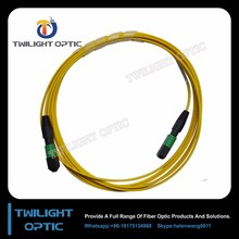Low Insertion 24x Lanes MTP Female Fiber Optic OS2 Singlemode Trunk Yellow Cable