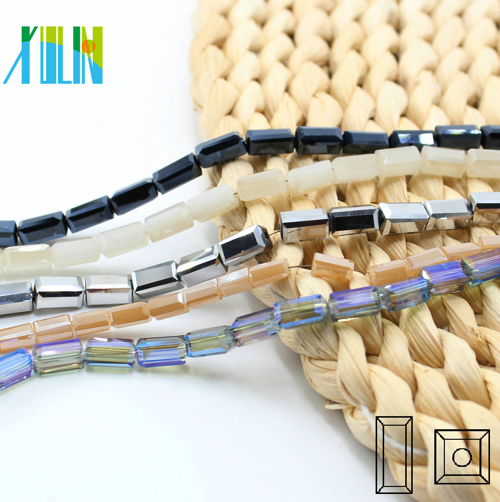 A6305-4# Plate Colors Faceted Crystal Glass Rectangle Square Tube Crystal Long Cube Beads