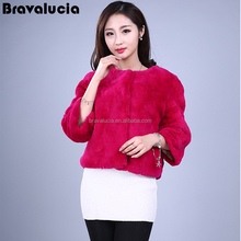 Rose red comfortable short paragraph elegant no collar wild fox fur coat