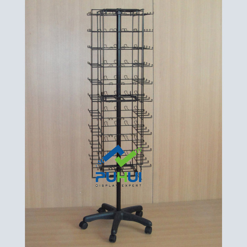 retail shop steel fixture custom metal wire swivel  rack ornaments novelty floor stand display with hooks for hanging