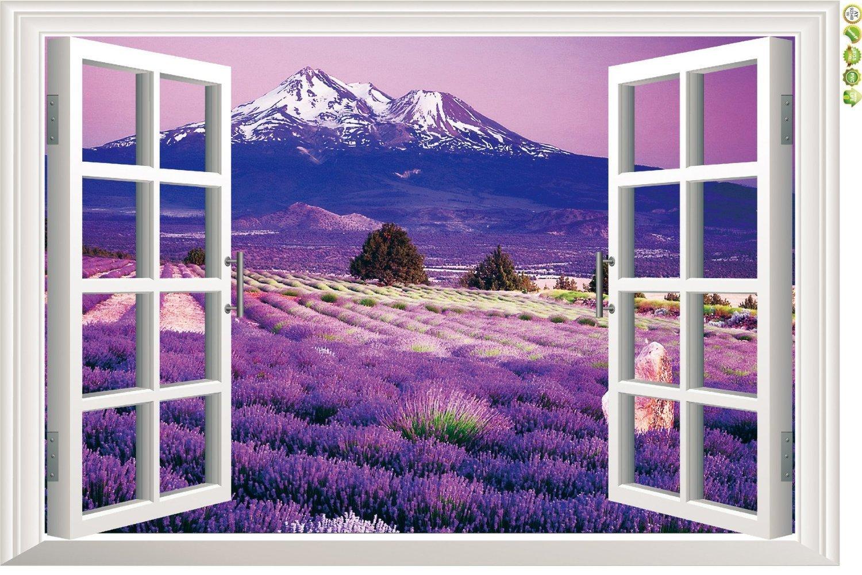 Amaonm® 3d Landscape Lavender Flowers Fake Window Sticker Wall Decals Huge Removable 3d Window View Wall Art Wallpaper Murals Wall Stickers Peel & Stick (9234b)
