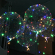 Kids Toy Christmas Party Decoration Transparent Helium Bobo Balloons Luminous Round/ Heart Led Light Balloon