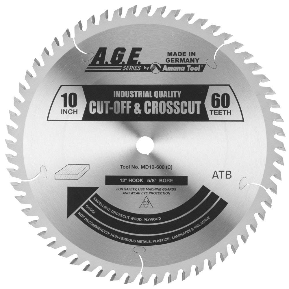 A.G.E. Series by Amana Tool MD10-600 Cut-Off and Crosscut 10-Inch Diameter by 60-Teeth by 5/8-Inch Bore, ATB Grind Carbide Tipped Saw Blade