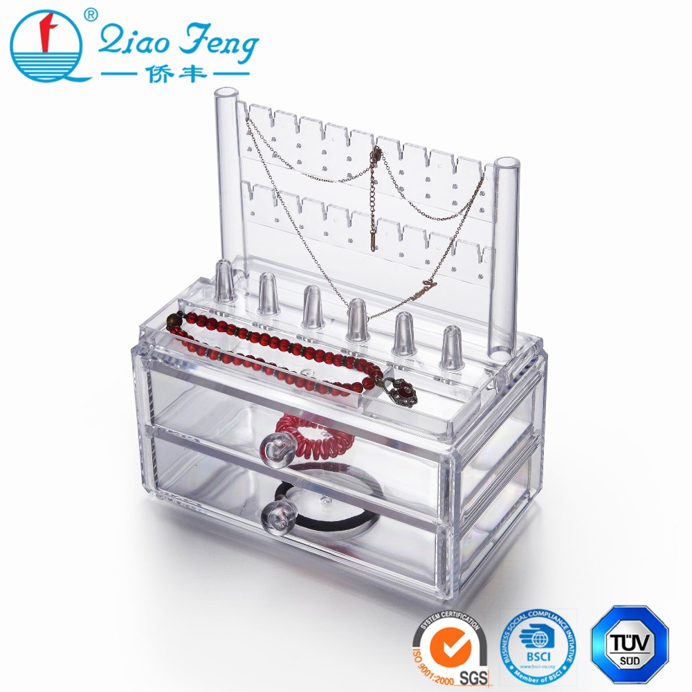 Delicate acrylic makeup organizer jewelry display rack with drawer