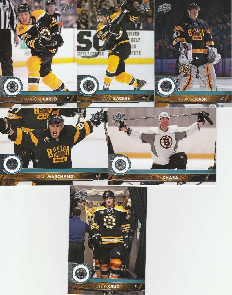 2017-18 Upper Deck Hockey Series 1 Boston Bruins Team Set of 6 Cards: Brad Marchand(#13), Brandon Carlo(#14), David Backes(#15), Torey Krug(#16), Tuukka Rask(#17), Zdeno Chara(#18)