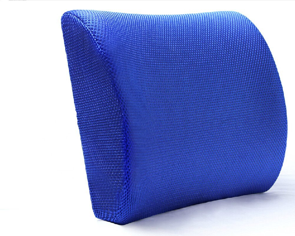 Moyishi Blue High Resilient Memory Foam Seat Back Lumbar Cushion Support Pillow Car Office Chair Back Support
