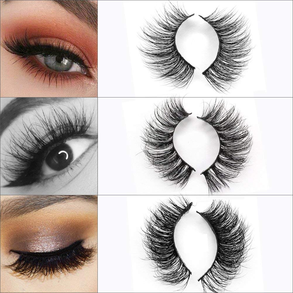 d92e0ddf71c Get Quotations · 3D Mink Eyelashes False Eyelashes Strips Long Thick Volume  Natural Fur Fake Eyelashes 3 Pairs Package
