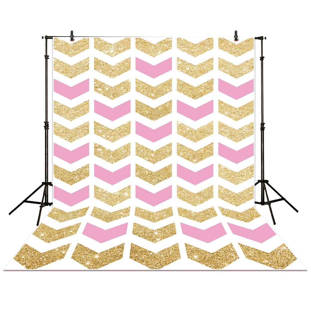 Allenjoy 5x7ft photography backdrops party pink with gold Arrows Damask golden Glitter glamour Sparkle Birthday banner photo studio booth background newborn baby shower photocall