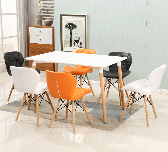 Leisure dining chair white with wood legs