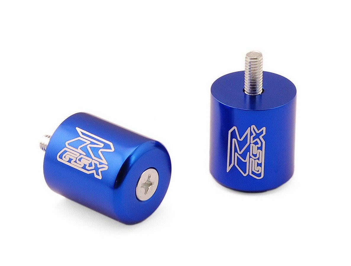 LUO Motorcycle Racing CNC Rear Caps Plugs Handlebar Protector Grips Bar Ends Weights Slider Blue Fit For Suzuki GSXR600 1996-2005