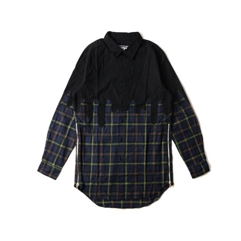 Long sleeve mens plaid hip hop swag top tees shirts imported-clothing dress famous brand style hip-hop clothes clothing