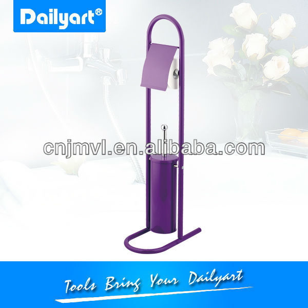 Purple toilet brush and holder bathroom accessory set (V031032)